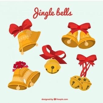 Pack de campanas de navidad doradas