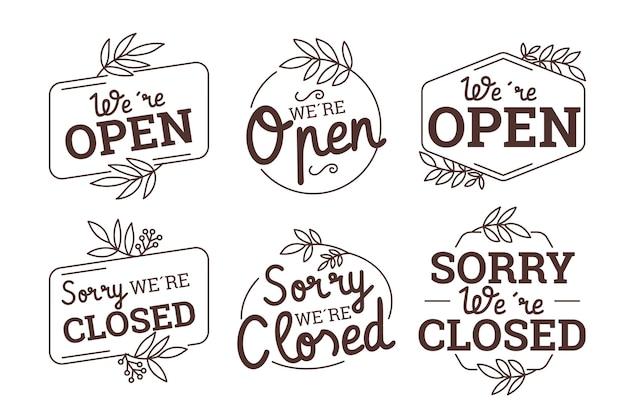 Pack de carteles abiertos y cerrados dibujados a mano