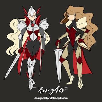 Pack de chicas guerreras con espada dibujadas a mano