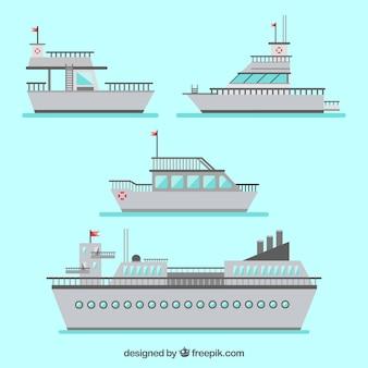 Pack de cinco barcos grises en diseño plano