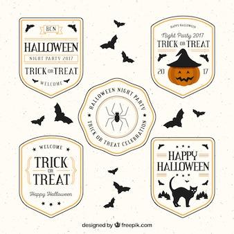 Pack de cinco pegatinas de halloween en diseño plano