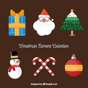 Pack clásico de elementos planos de navidad