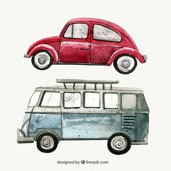 Pack de coches vintage de acuarela
