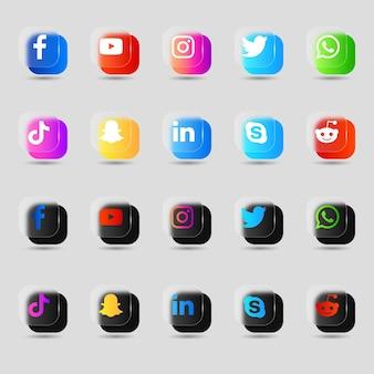 Pack de colección 3d de logotipos e iconos de redes sociales