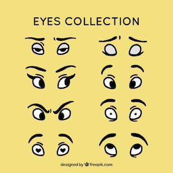 Pack de colección de ojos de personajes dibujados a mano