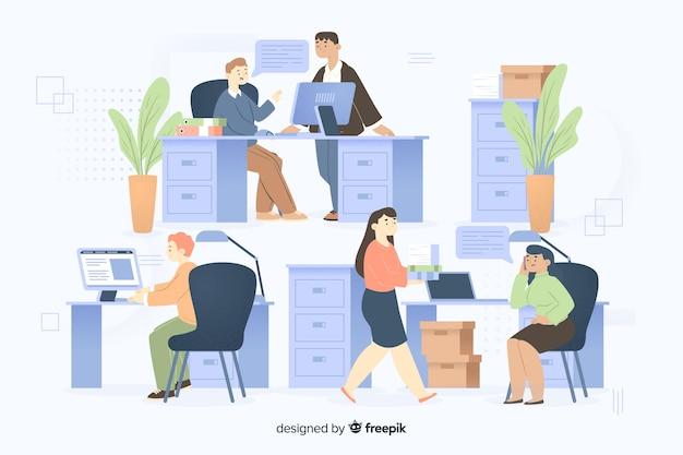 Pack de colegas trabajando juntos