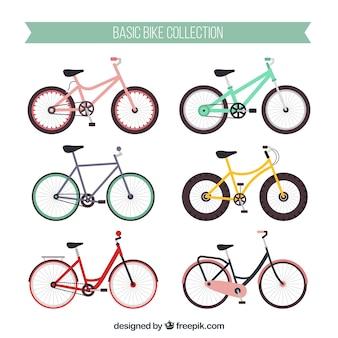 Pack colorido de bicicletas modernas