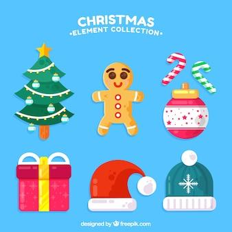 Pack colorido de elementos de navidad