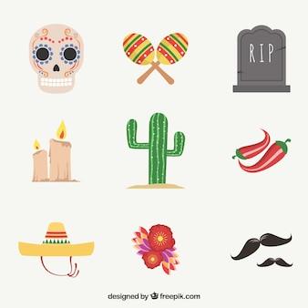 Pack colorido de elementos mexicanos coloridos