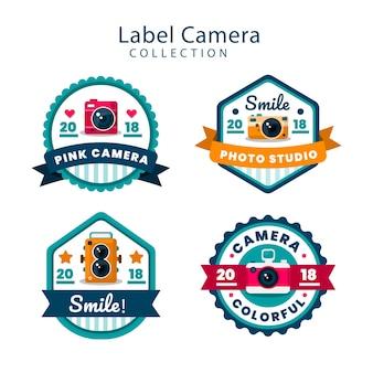 Pack colorido de etiquetas de cámaras con diseño plano