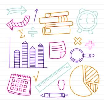 Pack de coloridos elementos de infografía escolar.