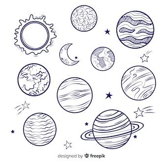 Pack de coloridos planetas de la vía láctea