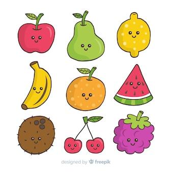 Pack comida fruta kawaii dibujada a mano