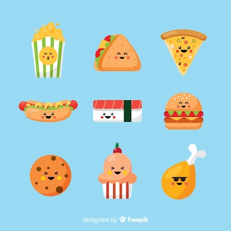 Pack de comida rápida sonriente kawaii