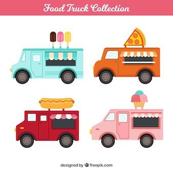 Pack completo de food trucks con diseño plano