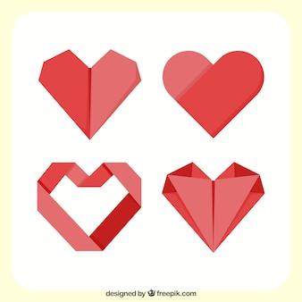 Pack de corazones rojos de origami