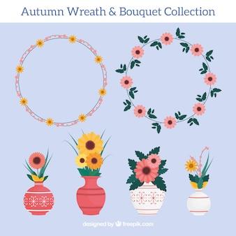 Pack de coronas florales y jarrones en diseño plano