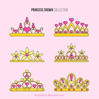 Pack de coronas de princesa con corazones y gemas