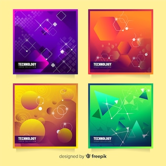 Pack covers formas 3d coloridas
