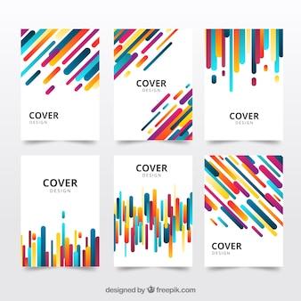 Pack de covers con líneas abstractas