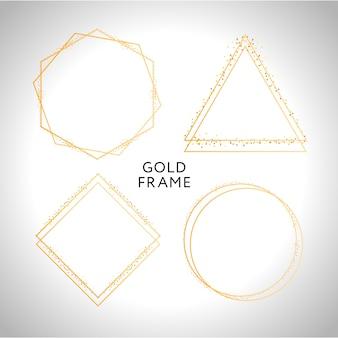 Pack de cuadros geométricos dorados