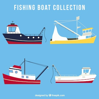 Pack de cuatro barcos pesqueros en diseño plano