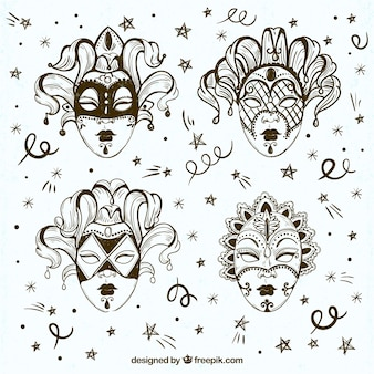 Pack de cuatro bocetos de máscaras venecianas