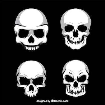 Pack de cuatro calaveras macabras