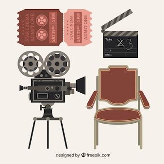 Pack de cuatro elementos de cine vintage
