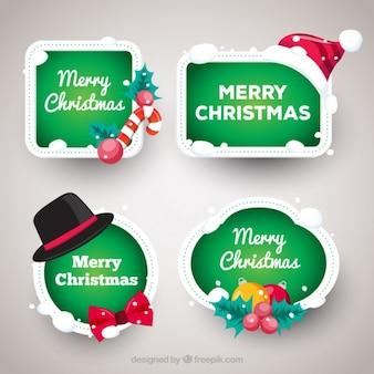 Pack de cuatro etiquetas navideñas con fondo verde