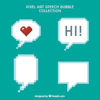 Pack de cuatro globos de diálogo pixelados