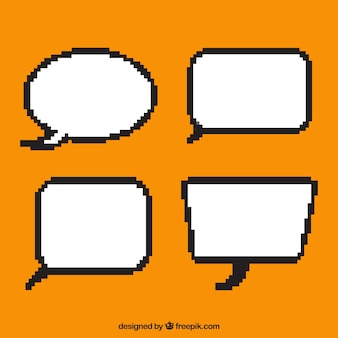 Pack de cuatro globos pixelados de diálogo