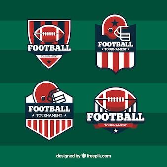 Pack de cuatro insignias de fútbol americano