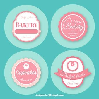 Pack de cuatro insignias vintage de panadería