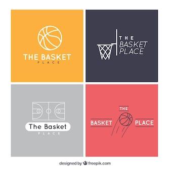 Pack de cuatro logos de baloncesto planos