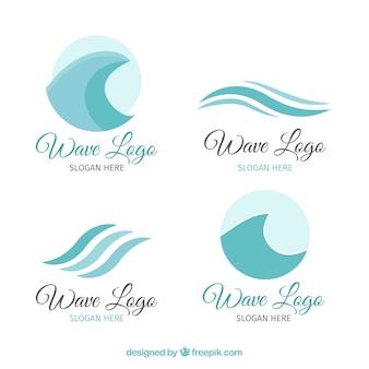 Pack de cuatro logos de olas en tonos azules