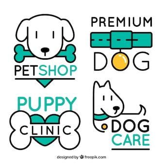 Pack de cuatro logos de perros con elementos verdes