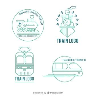 Pack de cuatro logos de trenes lineales