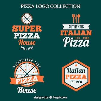 Pack de cuatro logos vintage de pizza
