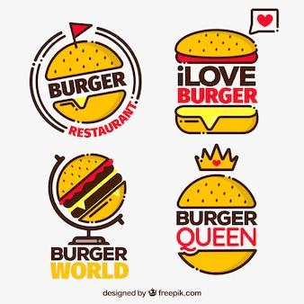 Pack de cuatro logotipos de hamburguesa con detalles rojos