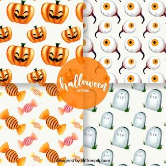 Pack de cuatro patrones de halloween de acuarela