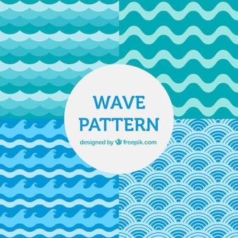 Pack de cuatro patrones de olas en tonos azules