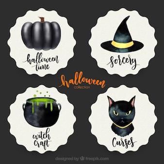 Pack de cuatro pegatinas de halloween de acuarela