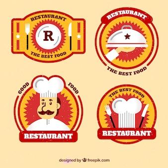 Pack de cuatro pegatinas de restaurante en diseño plano