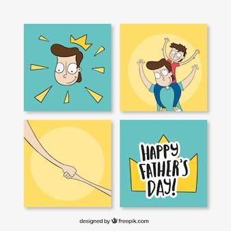 Pack de cuatro tarjetas dibujadas a mano para el día del padre