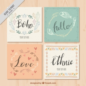 Pack de cuatro tarjetas de felicitación boho