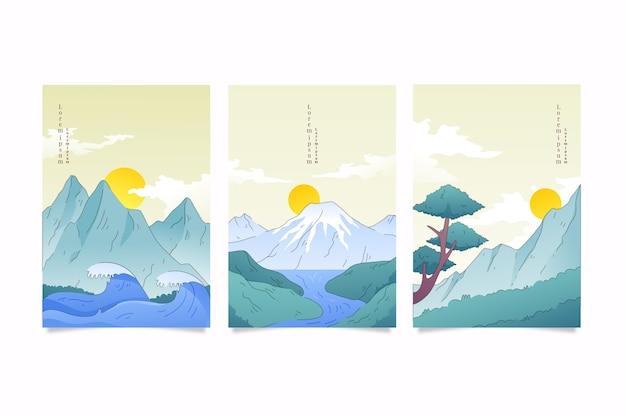 Pack de cubierta japonesa minimalista con montañas
