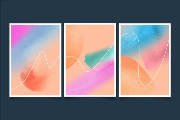 Pack de cubiertas abstractas con formas de acuarela