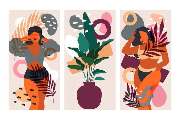 Pack de cubiertas de formas abstractas dibujadas a mano