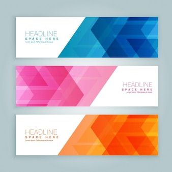 Pack de banners de colores con diseño abstracto